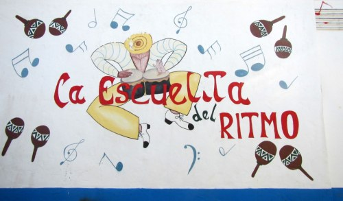 Cheerful mural on the music school wall