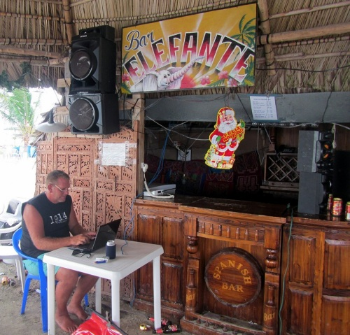 Tom catching some Internet at the Elefante Bar