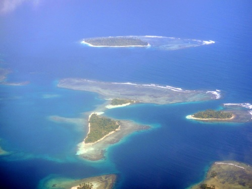 Aerial view of some of the San Blas islands