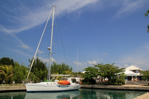 Camelot at rest at the Barefoot Cay Marina