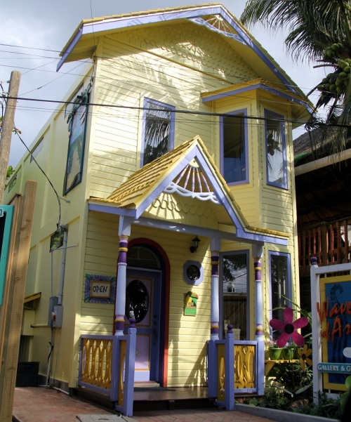 One of the colorful buildings in the West End.