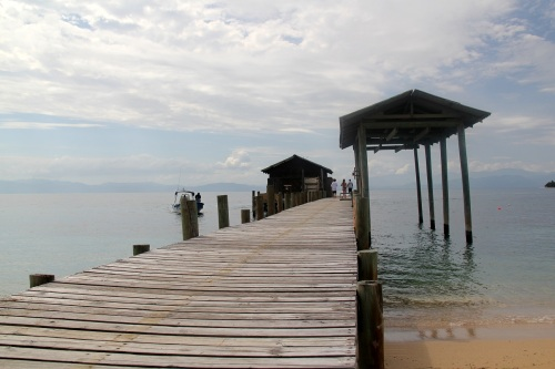 The long dock at Cayo Menor